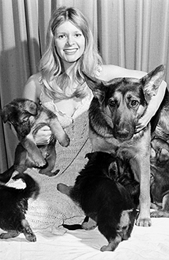 Mary Millington and Puppies