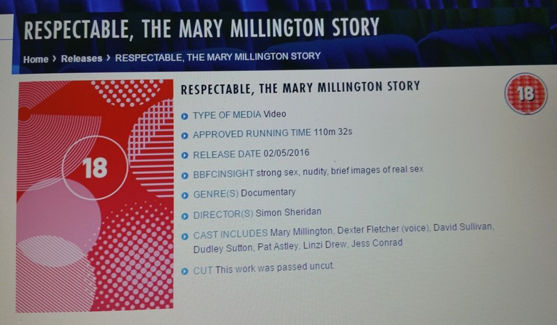 Mary Millington 18 certificate